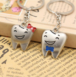 Wholesale Cheap Men Wedding Ring - 2 Pcs=1pairs stainless steel Cute Key Ring Keychain Tooth teeth dental Advertising Promotion gift Cheap keychains Fashion wedding Favor Gift