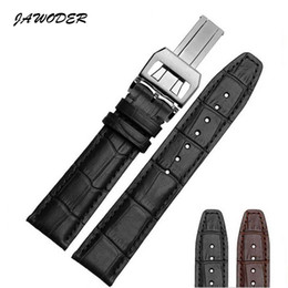 Wholesale Black Pilot Watch - JAWODER Watchband 20 21 22mm Black Brown Bamboo Grain Genuine Leather Watch Band Strap Stainless Steel Deployment Buckle for Portugal Pilot
