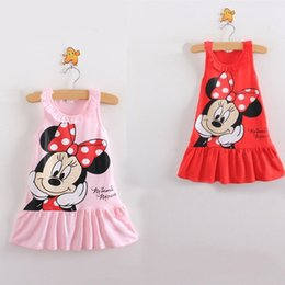 Wholesale Cartoon Chinese Dresses - Lovely Kids Baby Girls Mickey Minnie Mouse Dress Girls Sleeveless Summer Dresses Cartoon Child Clothes Girls Princess tutu Dress