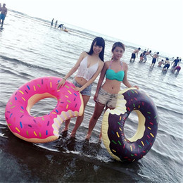 Wholesale Dessert Toys - 48 Inch Sweet Dessert Giant Pool Floats Adult Big Kids Super Large Gigantic Doughnut Pool Inflatable Life Buoy Swimming Circle Ring Toy