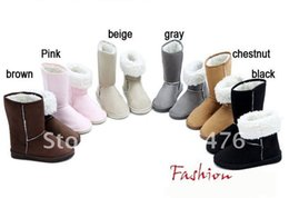 Wholesale Wide Heeled Boots - Wholesale-New arrival fashion winter warm flat heels solid snow boots pink gray black brown beige wholesale drop ship