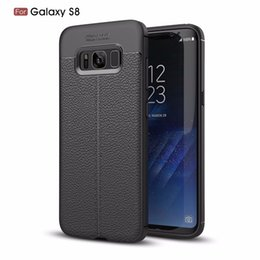 Wholesale Mobilephone Cases - Mobilephone leather case for Samsung Galaxy S8 carbon fiber TPU leather protective back cover for Galaxy S8 Plus case