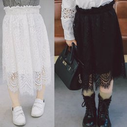 Wholesale Wholesale Long Pleated Maxi Skirts - Children Clothes Korean sweet Wholesale Fashion 2017 Spring Summer lace Tiered Girls Skirts kids long white Maxi Skirt Child Clothing A166