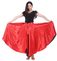 trajes de swing Rebajas Falda Flamenca Falda de Danza Española 360 Degree Danza del Vientre Círculo Big Latin falda Swing Opening Dance Costume Envío Gratis