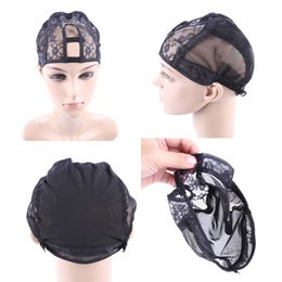 Wholesale Lace Weaving Cap - Freeshipping-Middle U part Glueless full lace weaving wig base cap net mesh inside inner wig make hair extension weft Medium