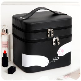 Wholesale Large Aluminum Makeup Case - Wholesale- New Style Large Cosmetic Case Women Cosmetic Bags&Case High Quality Makeup Box with Mirror Professional Makeup Bag Double