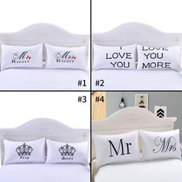 Wholesale Fancier Case - 4 Style Fancy Pattern Mr Mrs White Couples Pillowcase Superior Polycotton Digital Printing Pillow Case For Wedding Valentine's Gift