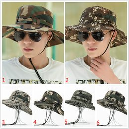 Wholesale Adult Bucket Hats - Cotton Mult-Color Military Camouflage Bucket Hats Camo Fisherman Hats With Wide Brim Sun Fishing Bucket Hat Camping Hunting Hat