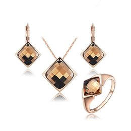 Wholesale Brown Crystal Earrings - 18K Rose Gold Plated Pendant Necklace Earring Studs Gemstone Ring with Brown Crystals Simple Elegant Jewelry Set