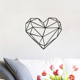 Wholesale Classic Home Design - Geometric Heart-Shaped Vinyl Love Wall Decal Sticker Home Decoration Art Mural for Living Room Bedroom