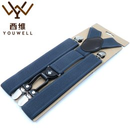 Wholesale Support Pants - Wholesale- YOUWELL 4 Clips Mens Suspender Men Braces Supports Suspenders For Women Strap Elastic Adjustable Pants Suspenders Mens Clothing
