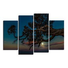 Wholesale Moon Canvas Wall Art - 4 PCS Night Seascape Large Tree with Moon Giclee Printing On Canvas For Living Room Cafe Home Decor Wall Art Picture Wholesale Decoration
