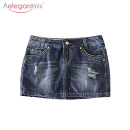 Wholesale Ladies Denim Skirt Mini - Wholesale- Special Offer Aelegantmis Classic Ripped Hole Denim Skirt Women 2017 Casual Summer Hot Mini Skirt Sexy Jeans Ladies