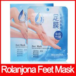 Máscaras de pés on-line-ROLANJONA alta qualidade pés máscara de Leite e Vinagre De Bambu Peeling Pés Máscara Remover a pele morta Reduzir o odor frete grátis