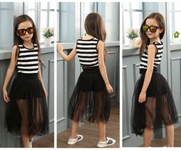 Wholesale Striped Maxi Skirts - big girls clothing sets boutique kids clothes summer girl long skirt maxi skirt + black and white stripe t shirts vest childrens outfits new