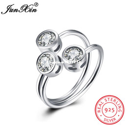 Wholesale Unique Settings Engagement Rings - dhgate Unique Jewelry 3 Zircon Stone 100% 925 Sterling Silver Finger Ring Wedding Engagement Party Open Rings For Women Lady