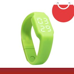 Wholesale Disk Watch - Fashion multi-function watch U disk thermometer watch green LED watch intelligence