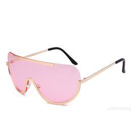 Wholesale Piece Fashion Frames - 2017 New One Piece Rimless Oversize Big Frame Metal Women Sunglasses Shades Windproof Pink Mirrors Goggles Windproof UV400 Eyewear Eyeglasse