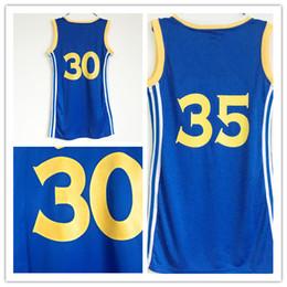 Wholesale Lavender Jersey Dress - Top Women 2017 Finals Champions 30 Stephen Curry Basketball Dress Skirt Jerseys Blue 35 Kevin Durant Lady Girls Sexy Dresses Sport Shirt