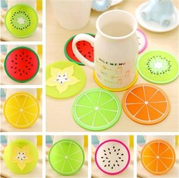 Wholesale Home Decor Coffee - 7 styles Home Table Cup Pads Fruit styling Coasters Creative Decor Coffee Drink Placemat Drinks Coasters IA563