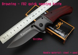 Wholesale oem browning folding hunting knife - OEM Browning -F82 Tactical Folding Knives 5Cr15Mov 57HRC Steel Camping Hunting Survival Pocket Knives Military Utility Clasp Hand Tools