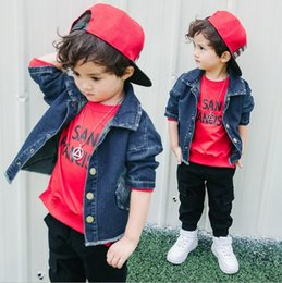 Wholesale 6t Boys Denim Jeans - New Fashion Girls Boys Denim Jacket Jeans T-shirt Blouses Cowboy Coat Kids Frankie Children Top Tee English Letter