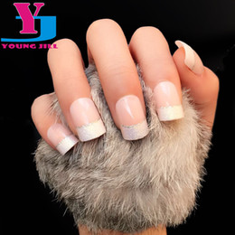 Wholesale Natural French Manicure - Wholesale- 24Pcs Natural French Short False Nail Tips Classical Acrylic Glitter Design Patch Fake Nails 2016 Hot Selling Manicure Art Sets