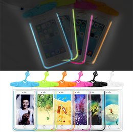 Wholesale Iphone Water Strip - Waterproof bag Cell Phone Cases Wholesale hanging Arm phone bag luminous strip light pvc mobile phone beach waterproof bag 1472