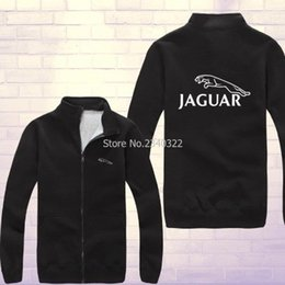 Wholesale Brown Cardigan Xl - Wholesale- Winter autumn Jaguar coupe car race sweatshirt fans on the new zipper cardigan coat jackets