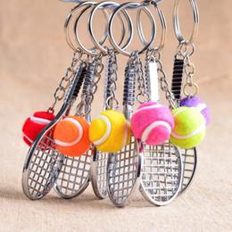 Wholesale Tennis Ball Keychain - colors Tennis racket keychain cute key ring for women tennis key chain key holder creative portachiavi chaveiro llaveros hombre