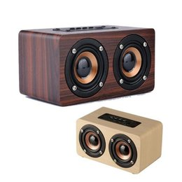 Wholesale Wooden Pc Speakers - New Wooden Bluetooth Wireless HiFi Speaker Dual Loudspeakers Surround Sound Mini Portable Stereo for Phone&PC Kids Gift