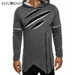 Wholesale Wholesale Streetwear Sweatshirts - Wholesale- Envmenst New Arrival Free Shipping Fashion Men's Long Black Hoodies Sweatshirts Zip Longline irregular Hip Hop Streetwear Shirt