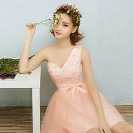 Wholesale Peach Sweetheart Neckline - peach bridesmaids elegant one shoulder corset tulle bridesmaid dresses sweetheart neckline dress for a wedding guest H3700