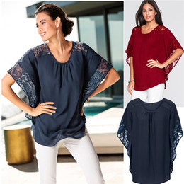 Wholesale Red Sheer Blouse - New Womens Chiffon Loose Top Dolman Batwing Lace Sleeve Blouse Shirts for Women Free Shipping WTB001