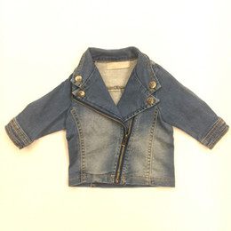 Wholesale Baby Boy Jeans Months - New Baby Boy Jeans Jackets Diagonal Zipper Long Sleeve Button European Style Outwear Kids Clothes Infant Hoodie