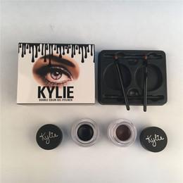 Wholesale Eyeshadow Gels - 2017 New Arrival Kylie Jenner Eyebrow Cream Waterproof Makeup Eyeshadow Cosmetics Make Up Double Color Gel Eyeliner Black + Brown