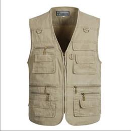 Wholesale Casual Loose Mens Vest - Wholesale- XL-5XL Male Casual Vests Men Cargo Vest Mens Multi Pocket Photographers Sleeveless Jacket Plus Size Summer Vests A803