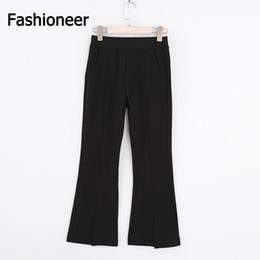 Wholesale Office Wear Styles For Women - Fashioneer Flare Pants for Women Black Split 2017 Slim Fashion High Waist Office OL Style Work Wear Skinny Pants Female Vintage Trousers