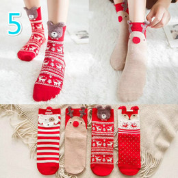 Wholesale Sock For Big Girls - New 8 team Christmas Socks For Big Girls Ladies Pure Cotton Kids   adult Socking Tights Casual Legging Autumn Winter Socks Protect A7663