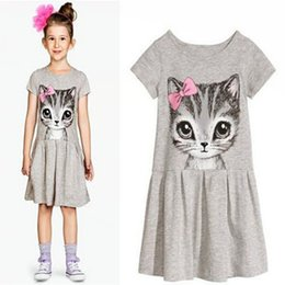 Wholesale Kids Dresses Years - New Summer Girls Dresses Cat Print Grey Cotton Casual Baby Girl dress Children Clothing Kids 0-8 years pink child clothes short sleeve