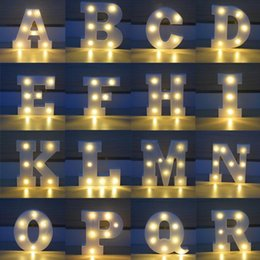 Wholesale Wall Lighting For Bedrooms - 26 Letters White LED Night Light Marquee Sign Alphabet Lamp For Birthday Wedding Party Bedroom Wall Hanging Party Decoration CCA7411 50pcs