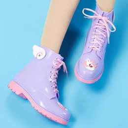 Wholesale Transparent Ankle Rain Boots - Brand New 2017 Women Fashion PVC Martin Rain Boots Cartoon Candy Colors Flat Heels Rainboots Woman Water Shoes Wellies ZJ68