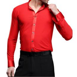 Wholesale Samba Shirts - Hot Sales Men Latin Dance Shirts Latin Dance Top Long Sleeve Tango Samba Salsa Standard Performance Costumes UA0187