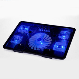 """Wholesale Base Notebook - Wholesale- 5 Fan 2 USB Laptop Cooler Cooling Pad Base LED Notebook Cooler Computer USB Fan Stand For Laptop PC Video 10-17"""""""