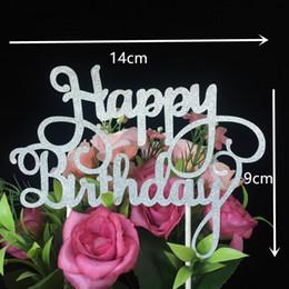 2019 flor de la luz de la luna Wholesale-10pcs Love Happy Birthday Cake Topper Decoración de boda Papel Glitter Cake Topper Wedding Favors Suministros de boda