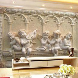 Europäischer stil tapeten rollen online-Großhandels-Custom European Style 3D Geprägte Fototapete Sofa TV Hintergrund Wandbild Papel De Parede 3D Wandbilder Tapeten Rollen Home Decor