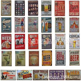 Wholesale Vintage Beer Signs - Beer Vintage Tin Sign Metal Wall Sticker Decoration Bar Home Wall Decor ART Poster Plate For Pub Coffee Christmas 30x20cm
