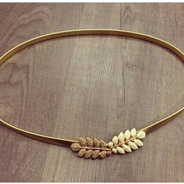 Wholesale Elastic Chain Belt - Wholesale- Cute Gold Olive Leaf wedding Belt for women pure metal elastic chain waist belt gold and silver in stock BG-070
