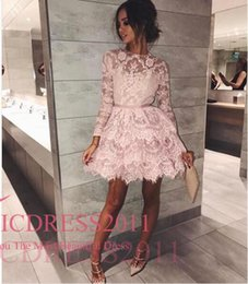 Wholesale Tuxedo Lace - Garden Vintage Adoration Homecoming Dresses A Line Jewel Hollow Long Sleeve Mini Lace Sashes Pink Ladies formal tuxedo