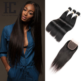 Wholesale three bundles - HC Products Human Hair Bundle with Lace Cosure Brazilian Hair Bundles Straight Virgin Hair Extensions Free Middle Three Part Closure